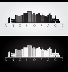 anchorage usa skyline and landmarks silhouette vector image