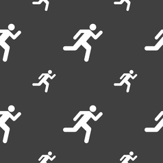 running man icon sign Seamless pattern on a gray vector image vector image