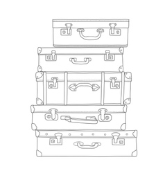 Sketch of the suitcases on white background vector image