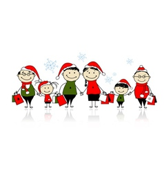 Christmas shopping Happy family together vector image vector image