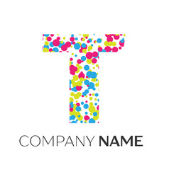 letter t logo with blue yellow red particles vector image vector image