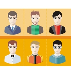 Man avatars characters on yellow background vector image vector image