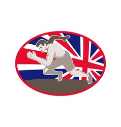 runner track and field athlete british flag vector image