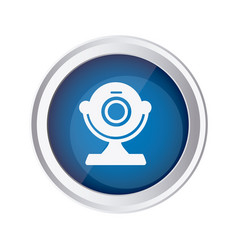 blue emblem computer camera icon vector image