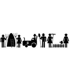 farm farmer worker pictograms vector image vector image