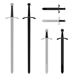 Medieval sword set vector image vector image