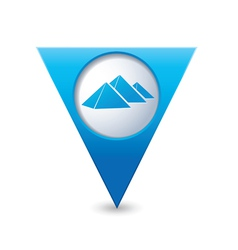 pyramid icon on map pointer blue vector image vector image