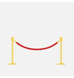 Red rope barrier golden stanchions turnstile vector