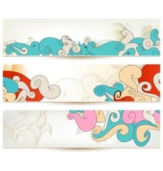 Retro swirls banners vector image vector image