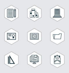 set of 9 school icons includes document case vector image vector image