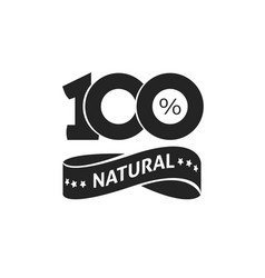 100 percent natural green label black and vector