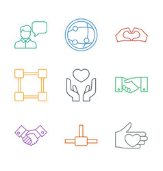 9 friendship icons vector image
