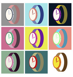 Assembly flat icons wrist watch vector