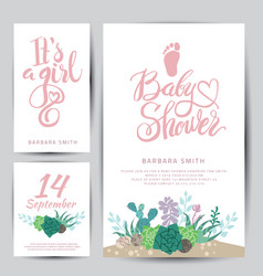 Baby shower sticker with succulents vector