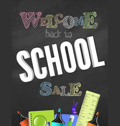 back to school banner with school elements and vector image