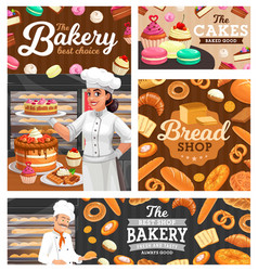 bakery bread pastry shop bakers with sweet food vector image