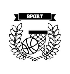 Basketball sport emblem icon vector