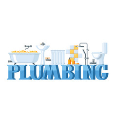 Bathroom interior plumbing banner vector
