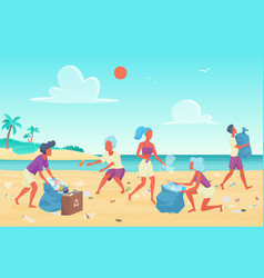 Beach cleaning students people flat vector