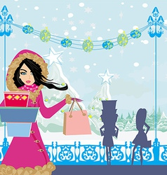 beautiful girls on winter shopping vector image
