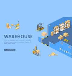 big warehouse isometric web page template vector image