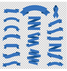 blue ribbons collection transparent background vector image