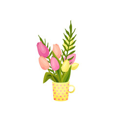 Bouquet pink and yellow tulips stands in a vector