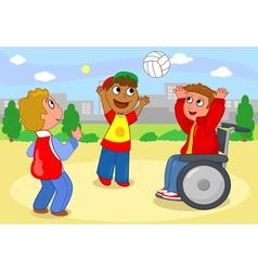 Boys palying with ball vector