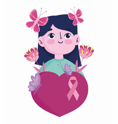 breast cancer awareness month cartoon woman vector image