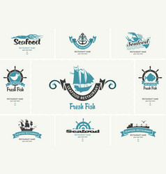 business cards with logos on theme seafood vector image