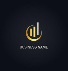 business finance chart progress gold logo vector image