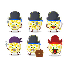 Cartoon character lemon slice with various vector