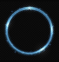 Circle neon light tracing effect vector