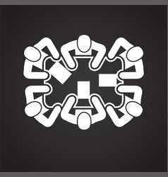 Collaboration meeting on black background vector