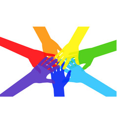 colorful diverse hands putting together vector image