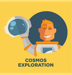 Cosmos exploration promo poster with astronaut in vector