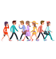 crowd of fashionable young people walking vector image