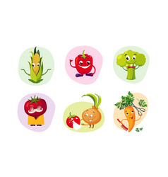 cute happy vegetables characters set funny vector image