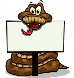 cute snake holding sign vector image