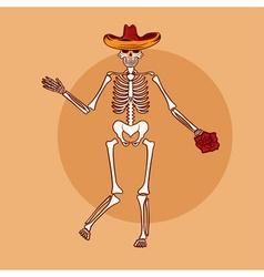 dancing skeleton in sombrero with flower vector image