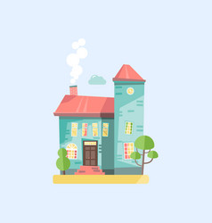 flat design with cottage house vector image