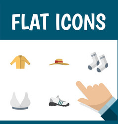 Flat icon clothes set of banyan elegant headgear vector