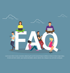 Flat women and men with letters symbols faq on vector