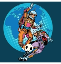 football soccer match astronauts play vector image