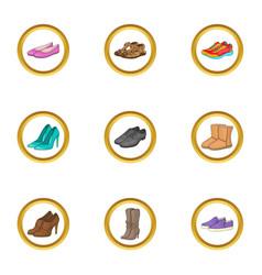footwear icons set cartoon style vector image