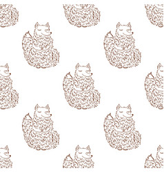 fox sketch seamless pattern funny cartoon vector image