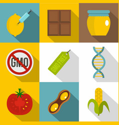 gmo product icon set flat style vector image