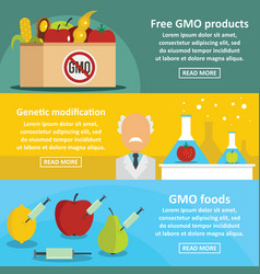 Gmo products banner horizontal set flat style vector