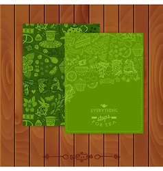 Green tea Branding Design Set of floral cards vector image