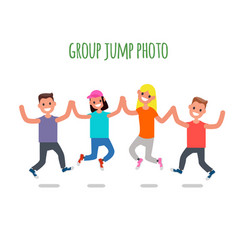 group jump photo flat design characters vector image